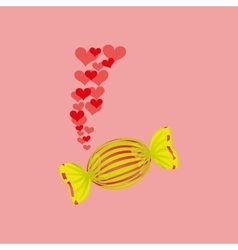 Heart cartoon candy yellow sweet icon design vector