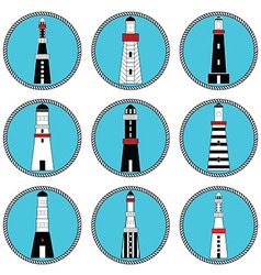 Lighthouses icons in knottet circle and blue vector image vector image