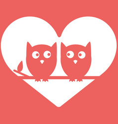owls in love minimal background valentine s day vector image vector image