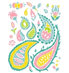 Paisley set in bright colors vector