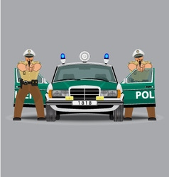 Police car and policemen officer vector