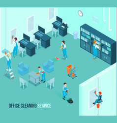Professional office cleaning service isometric vector