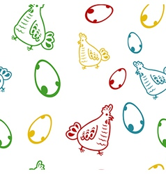Seamless pattern with chicken vector