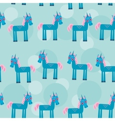 Seamless pattern with funny cute unicorn animal on vector
