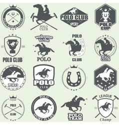 Set of vintage horse polo club labels vector image vector image