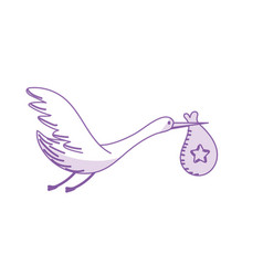 Silhouette stork bird with baby in the bag vector