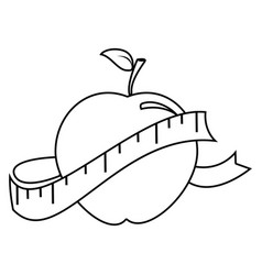Silhouette with apple and measuring tape vector