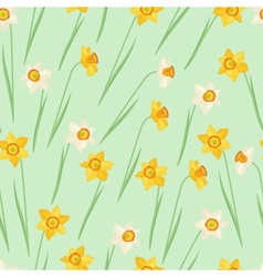 Spring flowers narcissus natural seamless pattern vector image vector image