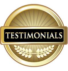 Testimonials gold icon vector