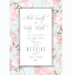 tulip butterfly invitation frame vector image vector image
