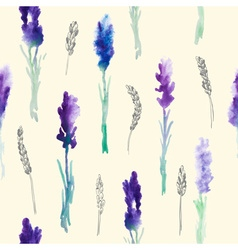 Watercolor Pattern of Lavender Flowers vector image vector image