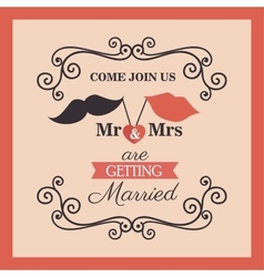 Wedding card vintage lettering design vector
