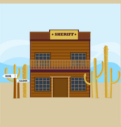 Western sheriff house facade template vector