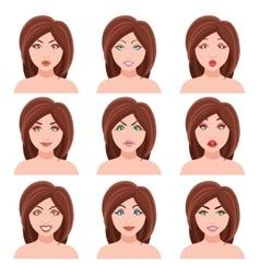 Woman faces set vector