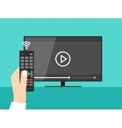 Hand holding wireless remote control screen tv vector image