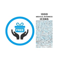 Give present rounded icon with 1000 bonus icons vector