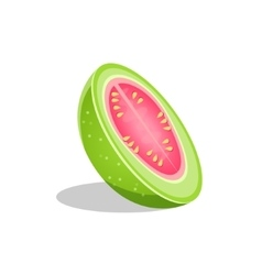 Pink guava fruit cut in half bright icon vector