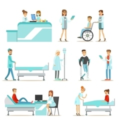 Injured and sick patients in the hospital vector