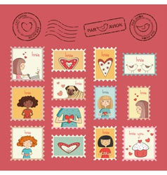 Post stamps valentine vector