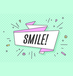 Ribbon banner with text smile vector
