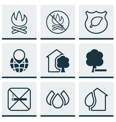 set of 9 eco-friendly icons includes cigarette vector image