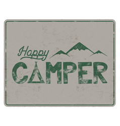 Happy camper poster template tent mountains and vector