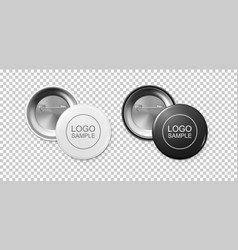 Realistic white and black button badge icon set vector
