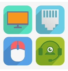 Office and business icons set in flat design vector