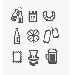 Different st patricks day icons set vector