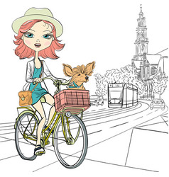 Girl with dog rides a bike in amsterdam vector