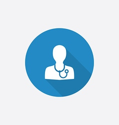 Doctor flat blue simple icon with long shadow vector