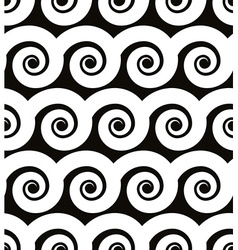 Curly waves seamless pattern black and white vector image