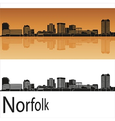 Norfolk skyline in orange background in editable vector