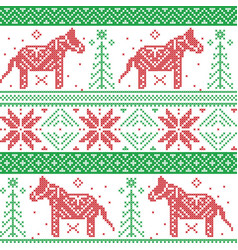 Dark green and red Nordic Christmas pattern vector image