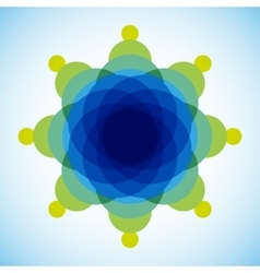 Yellow blue and green blended transparent circles vector image