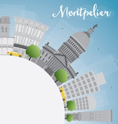 Montpelier vermont city skyline with grey building vector