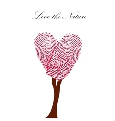 Heart pink tree with finger prints eps vector