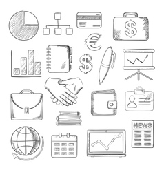 Business finance and office icons sketches vector