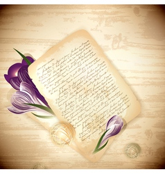 Old letter with crocus flowers vector