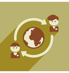 Flat web icon with long shadow businessman earth vector