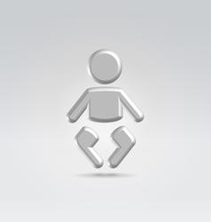 Silver baby icon vector