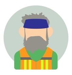 Avatar man with beard icon flat style vector