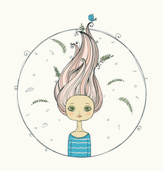 Beautiful girl with flying hair on summer vector