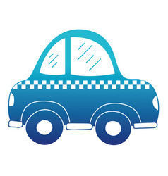 blue silhouette taxi car vehicle to transport vector image