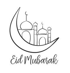 Card eid mubarak with mosque vector