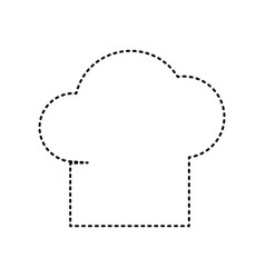 chef cap sign black dashed icon on white vector image vector image