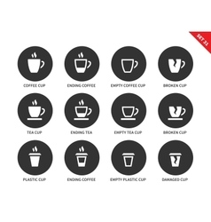 Coffee and tea cups icons on white background vector