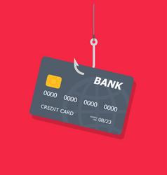 Credit or debit card on fishing hook internet vector