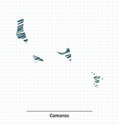Doodle sketch of Comoros map vector image