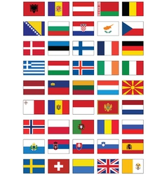 Flag set of all european countries vector